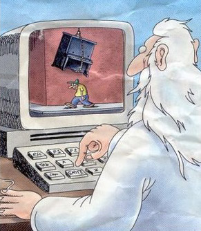 The Far Side: God At His Computer